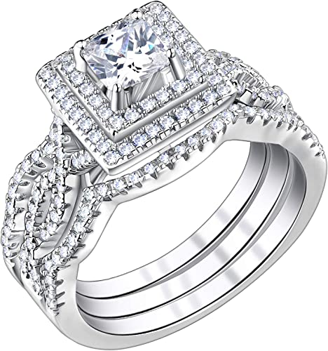 3UMeter 925 Sterling Silver Bridal Sets CZ Wedding Rings Shining Engagement Ring Set for Women Size 5-12