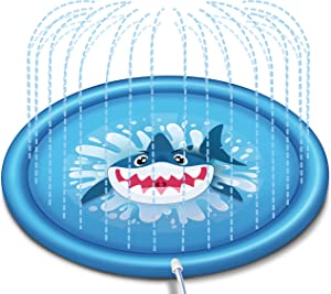 "JOYIN Sprinkler for Kids, 68"" Shark Sprinkler & Splash Plat Mat for Toddlers Outdoor Toy Splash Pad"