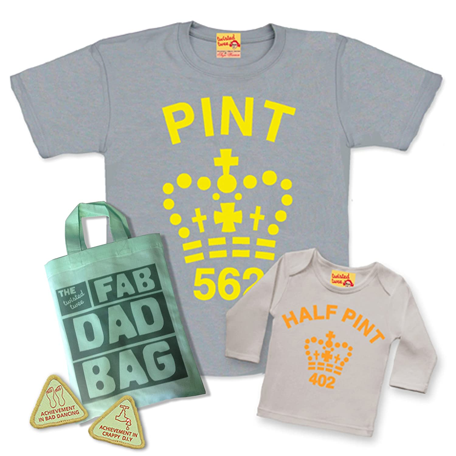 fd060a63 Matching Pint & Half Pint T shirt Set for Father & Son or Daughter - Grey  Citrus - with Fab Dad Goody Bag and extra dad treats.: Amazon.co.uk:  Clothing