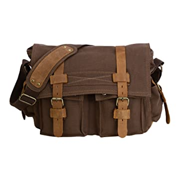 Amazon.com: Men's Vintage Canvas Leather Satchel School Army ...