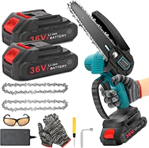 Mini Chainsaw 6-Inch with 2 Battery, 36V Cordless power chain saws with Security Lock, Handheld Small Chainsaw for Wood Cutting Tree Trimming