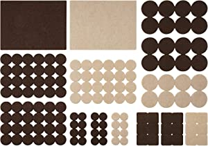 SoftTouch 4762995N Home Essentials 140 Self-Stick Furniture Felt in Assorted Shapes & Sizes, Linen & Brown Mixed