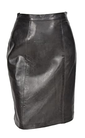7736087a23 Ladies Real Leather Knee Length 22inch Pencil Skirt Club Office Casual Wear  SKT1 Black  Amazon.co.uk  Clothing