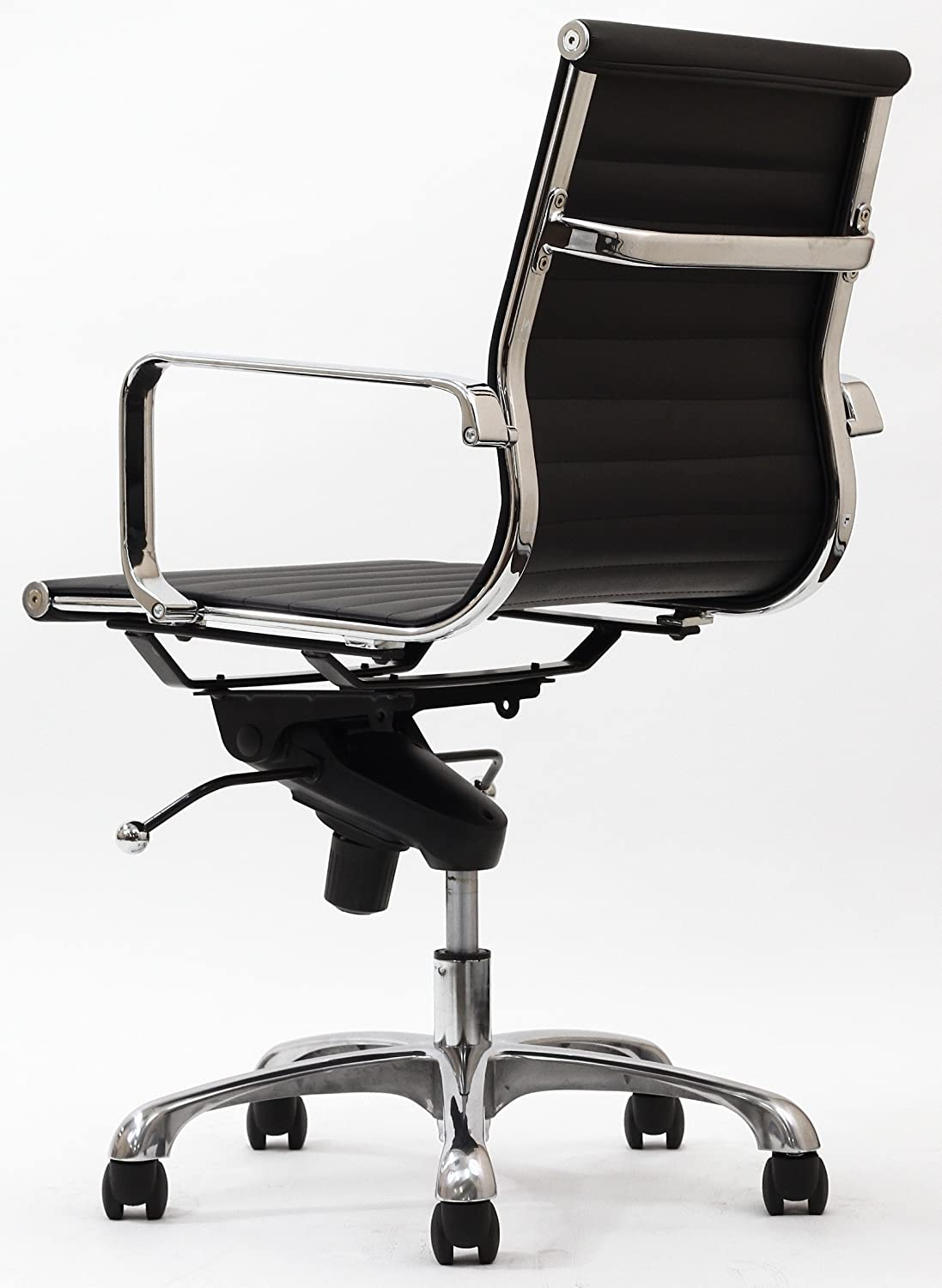 Black and white office chair - Amazon Com Malibu Mid Back Office Chair In Black Leatherette Kitchen Dining