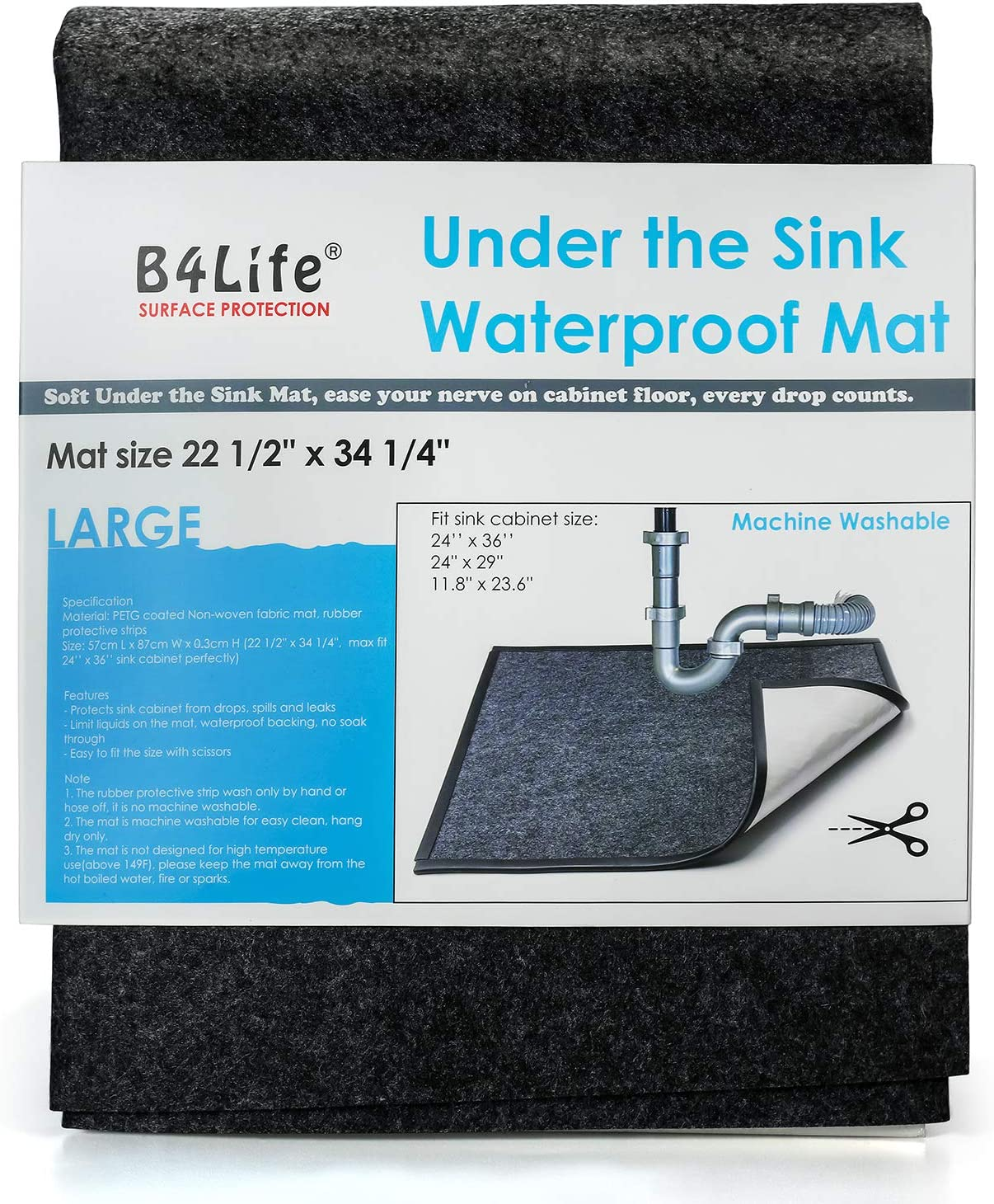 Amazon Com B4life Under Sink Mat Kitchen Cabinet Liner Fits 24 X 36 Cabinet Large Waterproof Mat With Rubber Strip Protects Cabinet Contains Liquids Absorbent Washable Durable Black Home Improvement