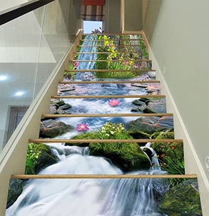 3D Forest stream Stair Risers Decoration Photo Mural Vinyl Decal Wallpaper AU