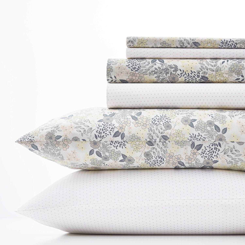 Laura Ashley Sugar Almond Floral/Dots Sheet Set, Queen, Blush