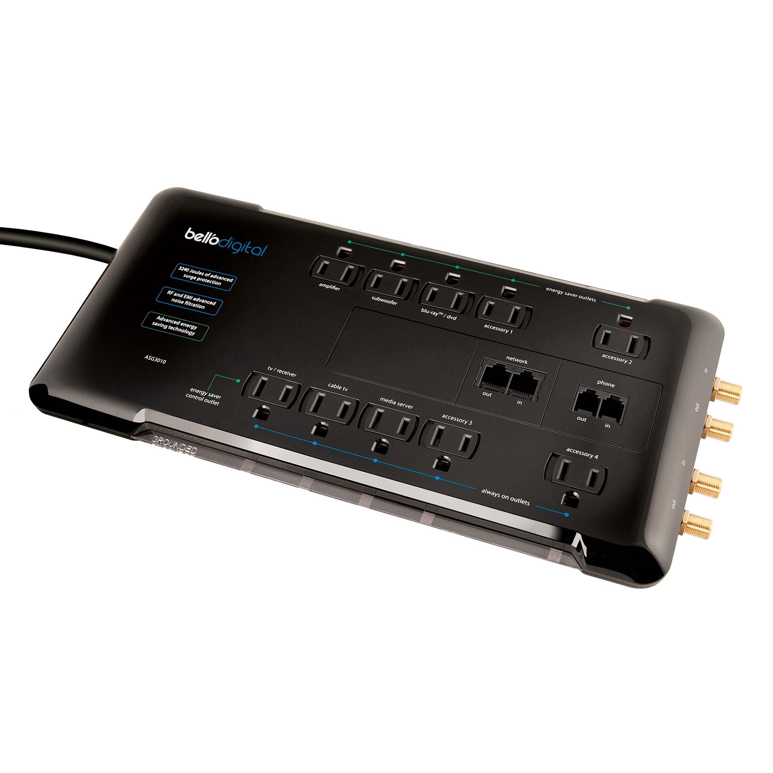 Bell'O Digital ASG3010 10 Outlet Energy Saving Audio Video Surge Protector with 8 Feet Cord plus Coax, Phone and Network Protection with Labeled Outlets