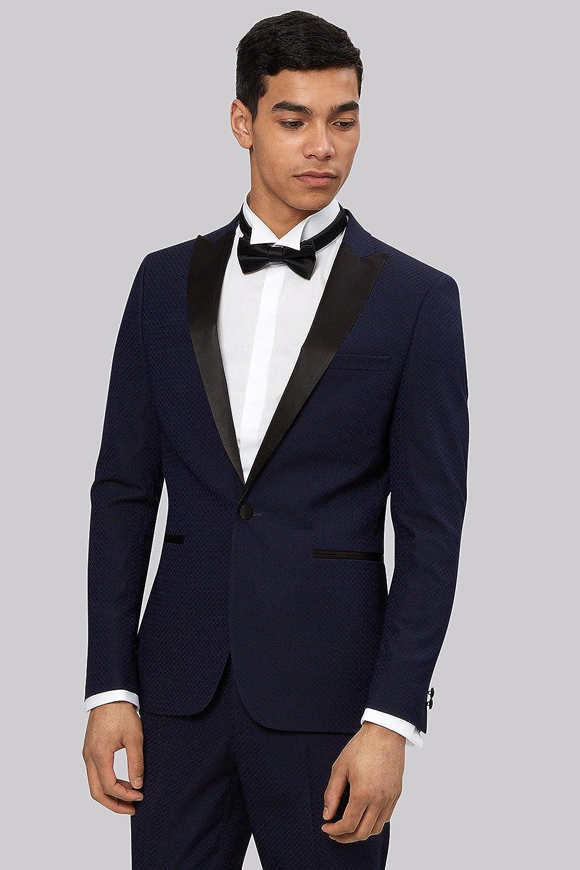 Moss London Men`s Slim Fit Midnight Blue Jacquard Tuxedo 42L: Amazon ...
