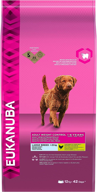 Eukanuba Weight Control Large Breed - Pienso seco bajo en Grasa (con Pollo para Control de Peso de Perros, pienso prémium para Razas Grandes) Bolsa de 12 kg