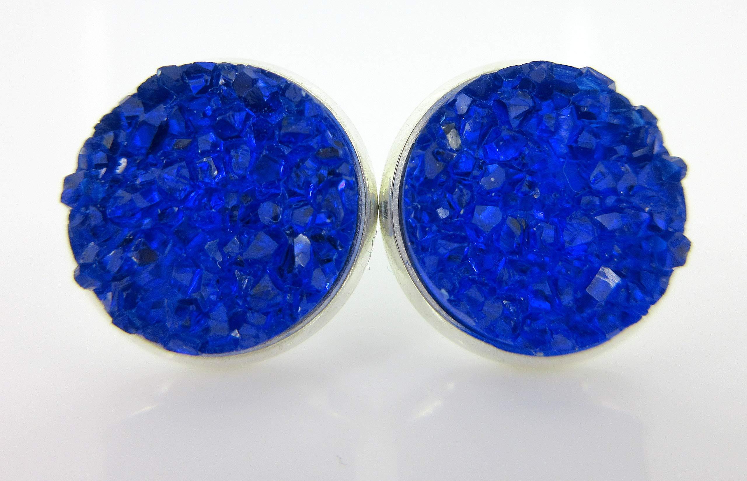 Trio Silver-tone Stud Earrings Clear AB Red Faux Druzy Stone Mermaid Scale Set 12mm