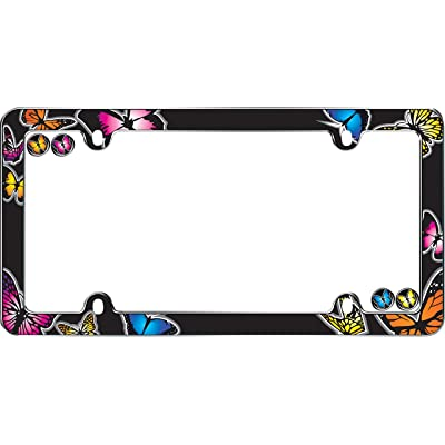 Cruiser Accessories 23053 Butterfly License Plate Frame, Chrome w/Fastener caps: Automotive [5Bkhe0400688]