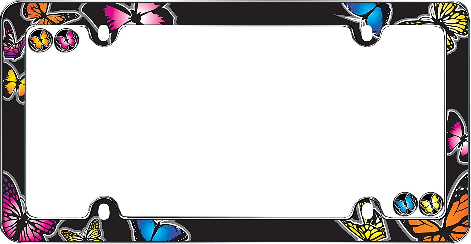 Cruiser Accessories 23053 Butterfly License Plate Frame, Chrome w/fastener caps