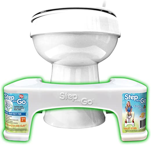 """Step and Go Toilet Stool 7"""" New - Proper Toilet Posture for Better and Healthier Results"""