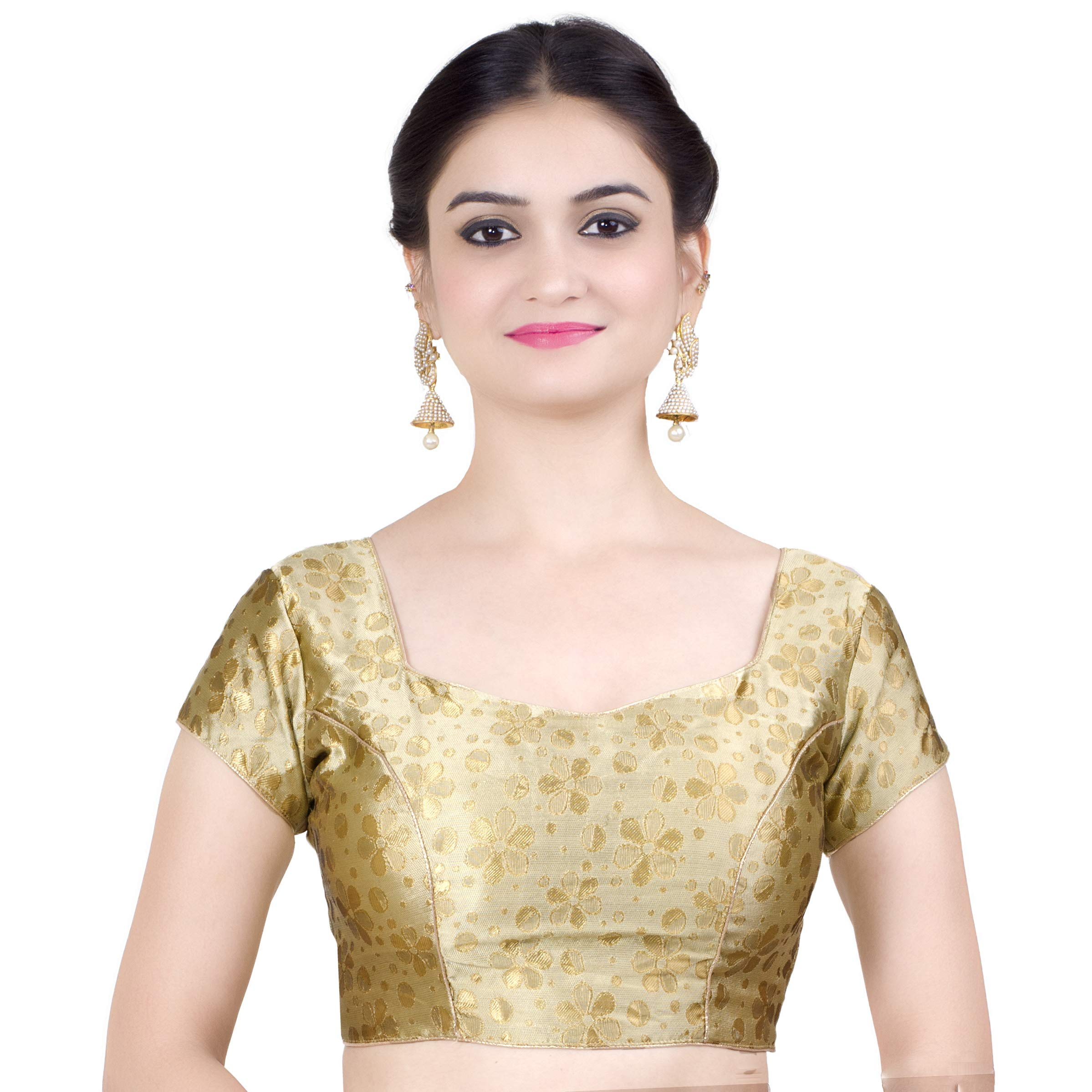 Chandrakala Women's Stretchable Readymade Lycra Gold Indian Ethnic Saree Blouse Crop Top Choli-X-Large (B117GOL5)