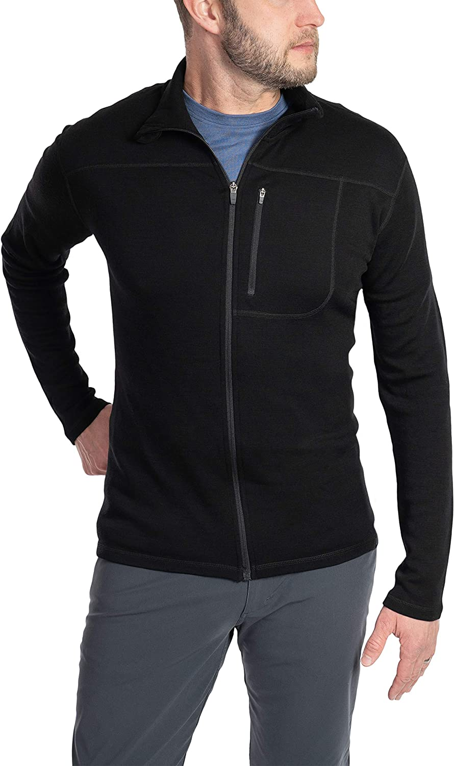 Woolly Clothing Men's Merino Pro-Knit Wool Crew Zip Up - Wicking Breathable Anti-Odor