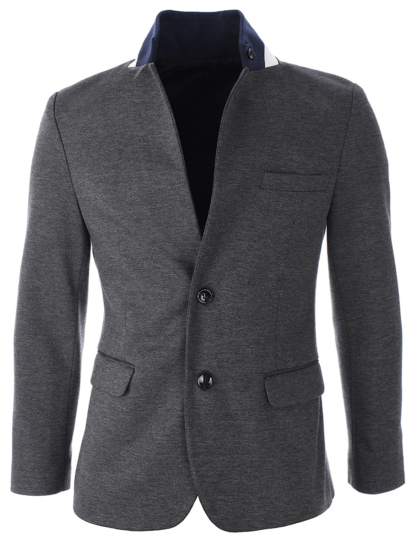 dd6efd192 FLATSEVEN Mens Slim Fit Stand Up Collar Casual Blazer Jacket