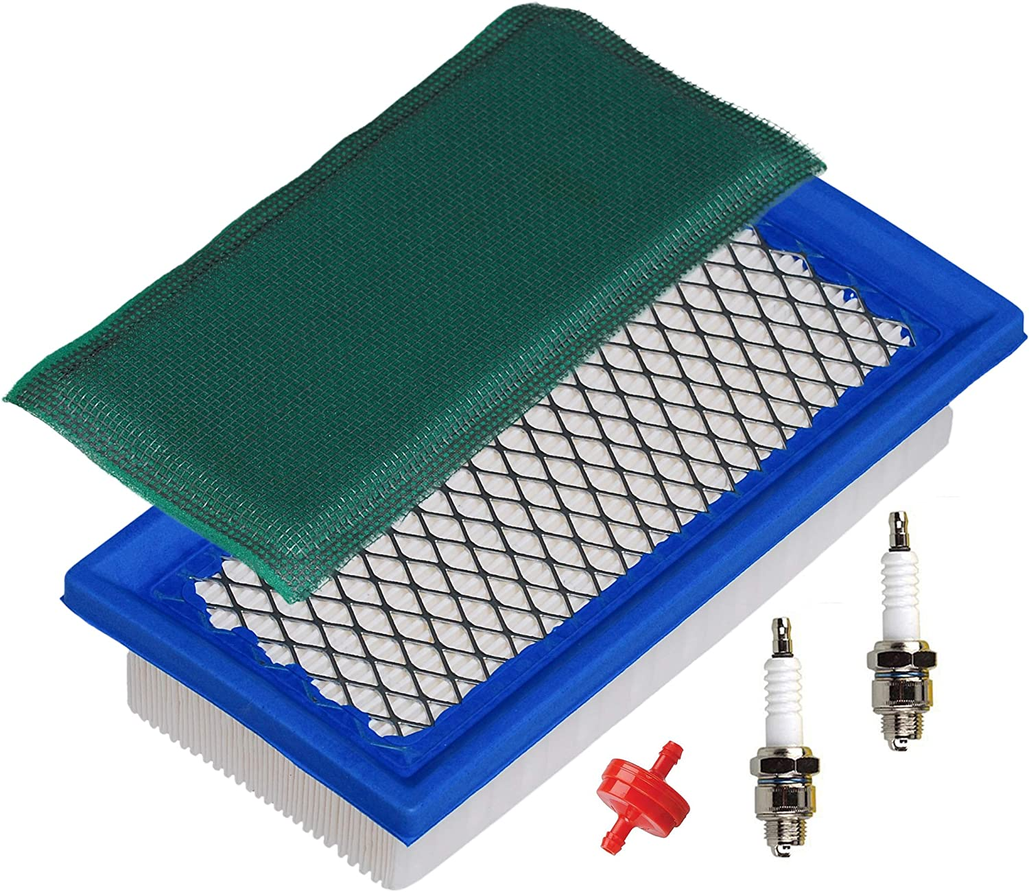 HIFROM Flat Air Filter Cartridge Cleaner Pre-Filter with Fuel Filter Spark Plug Kit Replacement for 176400 19B400 226400 256400 192400 196400 Replace 4195 496077 691643
