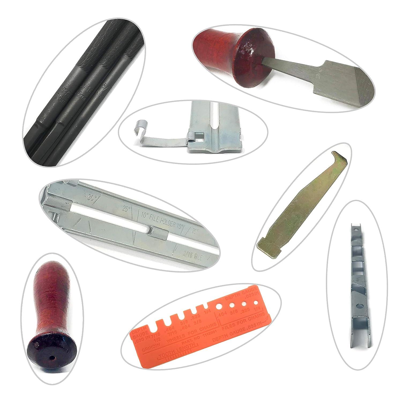 calibre et rangement poign/ée Affuteuse de tron/çonneuse professionnel 10 pi/èce cha/îne aff/ûtage kit avec 5//32 3//16 7//32 Lime ronde Mizoova lime plate guide