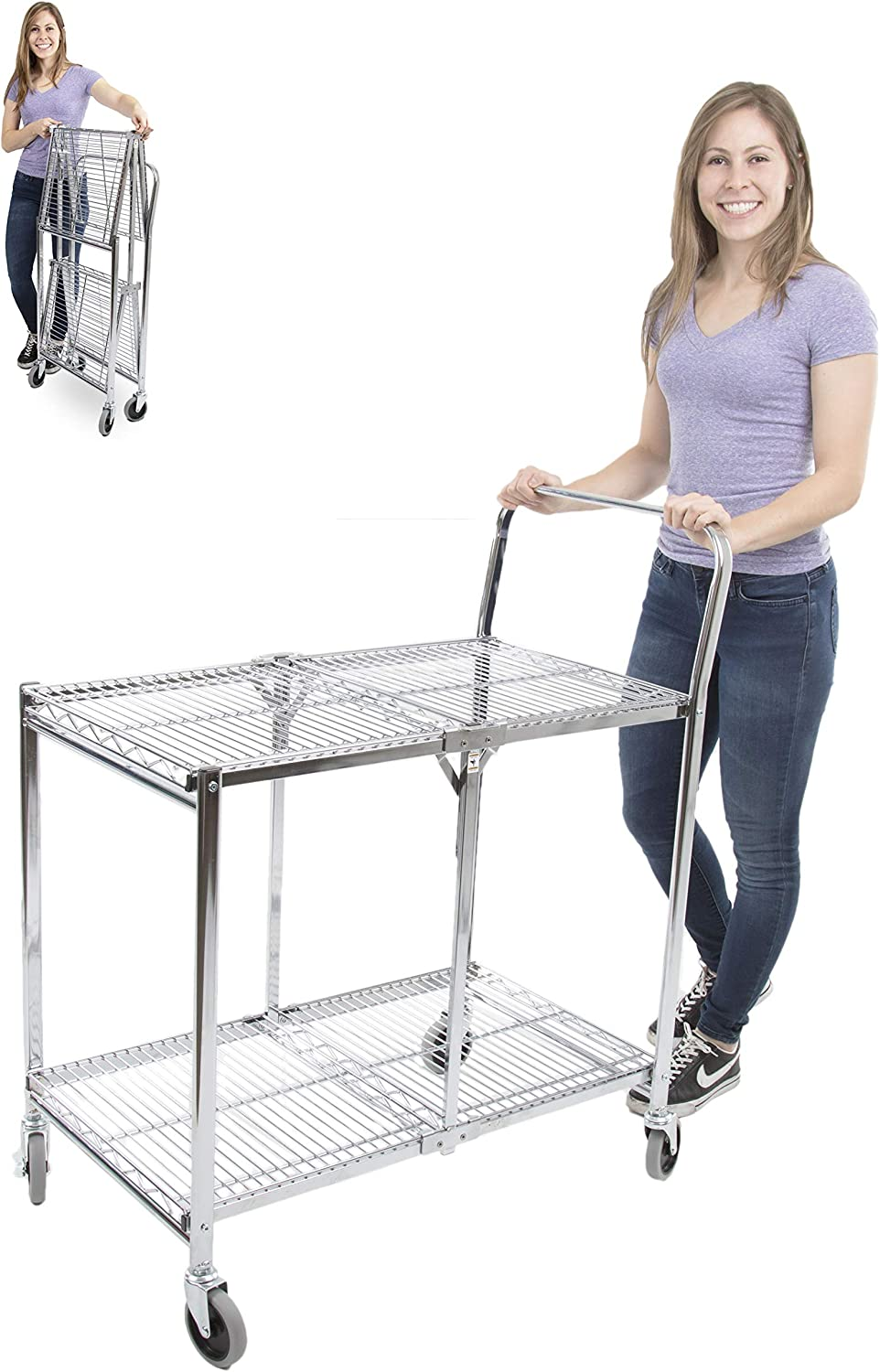 Original Tubstr Collapsible Wire Cart – 2 Shelf Wire Utility Cart Provides Convenient Transport, Holds 200 Pounds and Folds Up for Storage – Commercial Grade