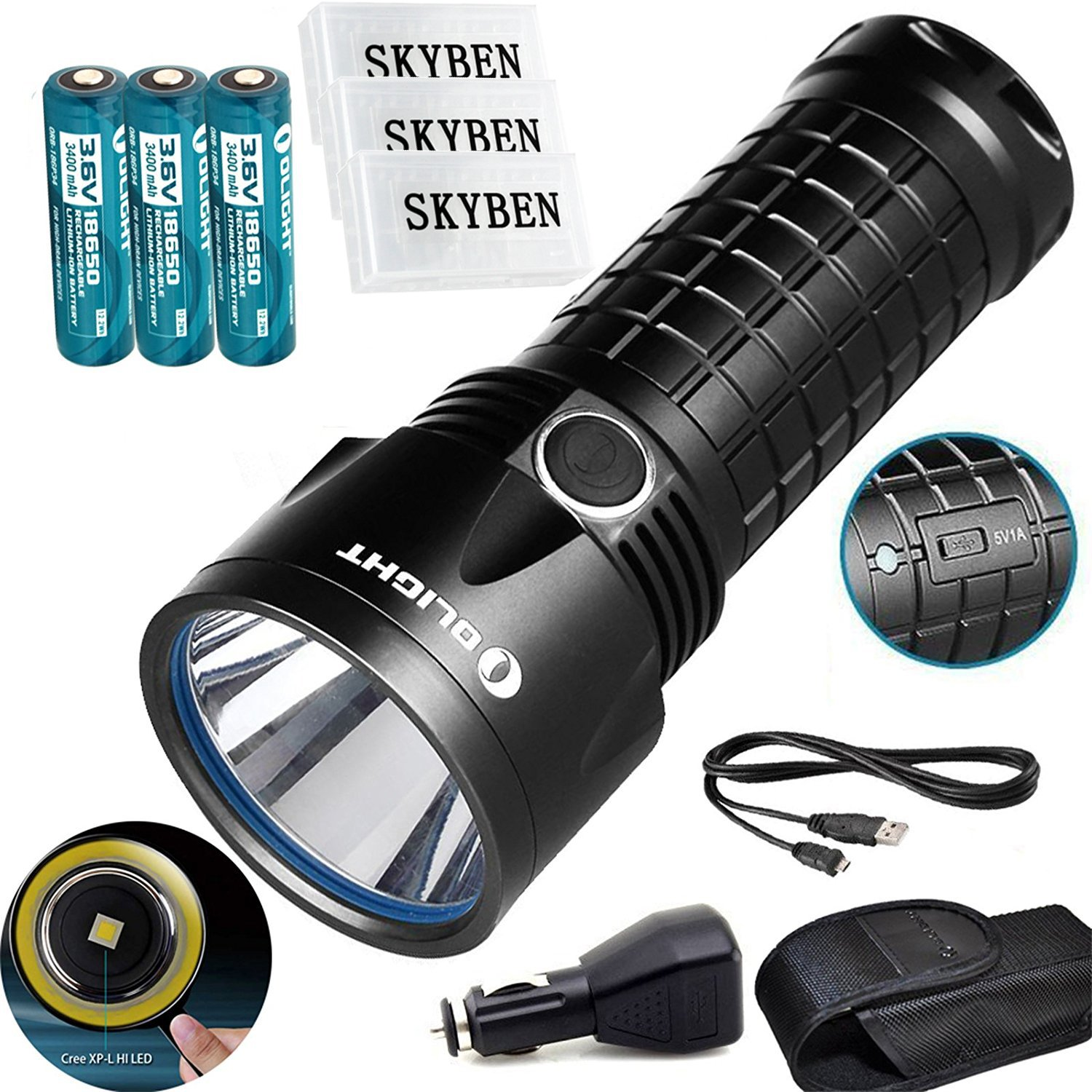 Bundle:Olight SR52UT Rechargeable Cree XP-L HI LED 1100 lumens 800 meters Waterproof flashlight+3*Olight 18650 3400 mAh Battery +3*Skyben 18650 Battery Case by Olight