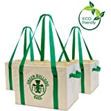Heavy Duty Collapsible and Reusable Grocery Shopping Box Bags with Fold Out Reinforced Bottom (Set of 3)