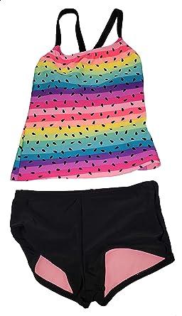 db201ca8b1 Girls Rainbow Rich Black 2 Piece Cross-Back Tankini Boyshort Swimsuit - 2XL