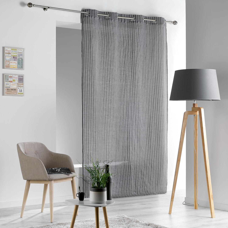 Douceur d'Intérieur SOFIANE Rideau à Œillets Polyester/Lin Taupe 260 x 140 x 0, 1 cm L3C