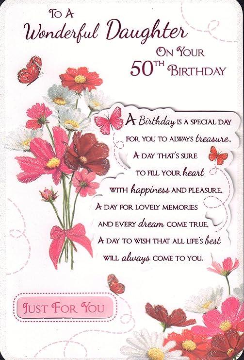 Tarjeta de felicitación de 50 cumpleaños para hija con texto ...