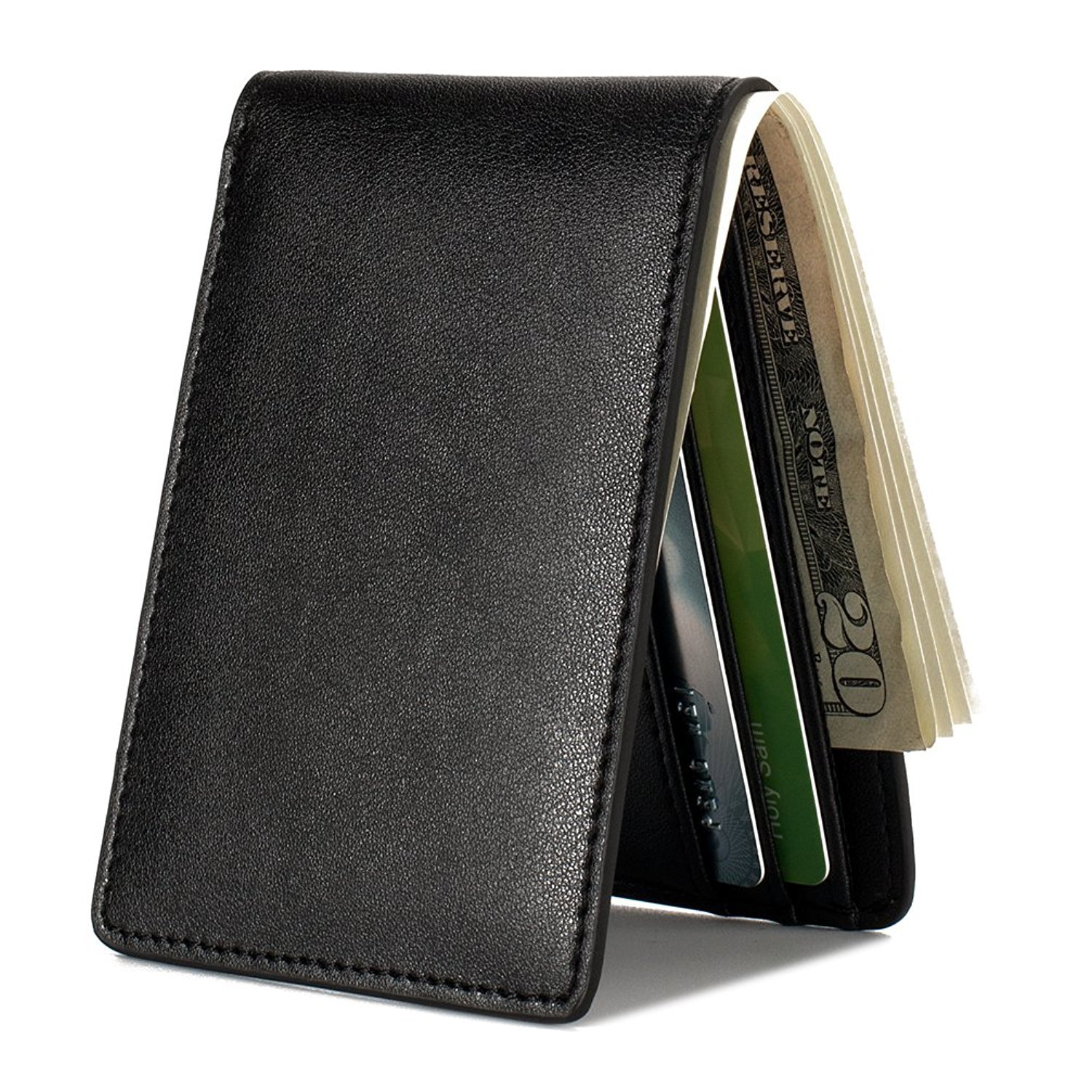 Mens Black Slim Pocket Bifold Soft Leather Travel Wallet with RFID Protection. (Buy one and get one Free)