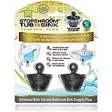 StopShroom Tub 2 Pack Universal Stopper for Bathtub and Bathroom Sink Drains, Black Plug 2pk, 2 Count