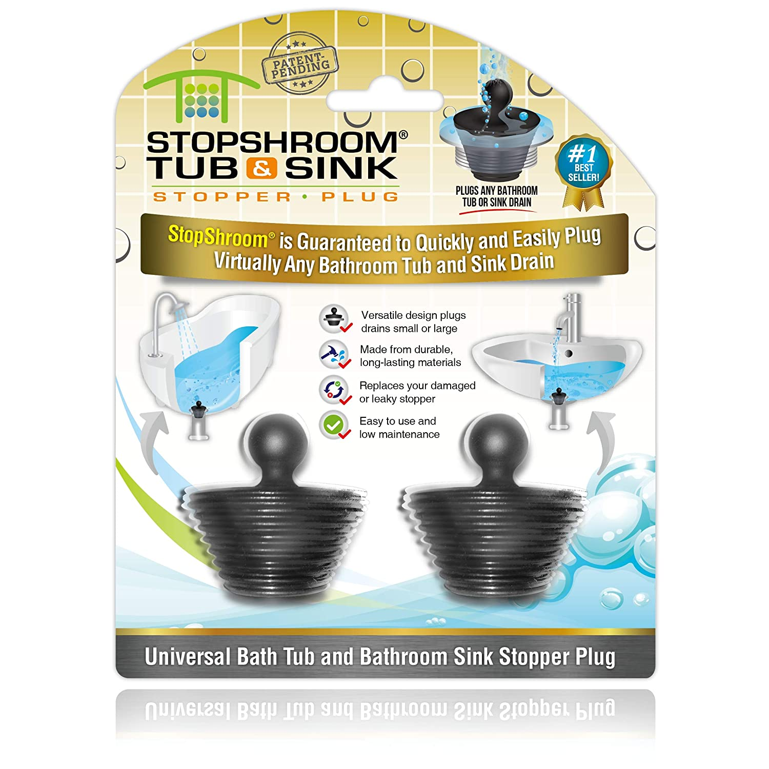 StopShroom Tub Plug 2 Pack Universal Stopper for Bathtub and Bathroom Sink Drains (Black), 2pk