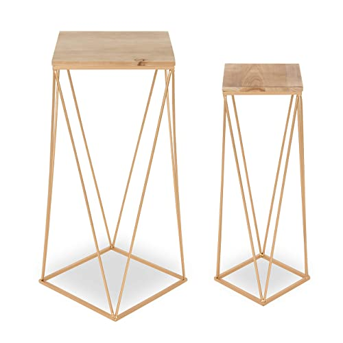 Kate and Laurel Gabriele Metal Accent Nesting Tables with Unfinished Natural Wood Top and Gold Base, Set of 2