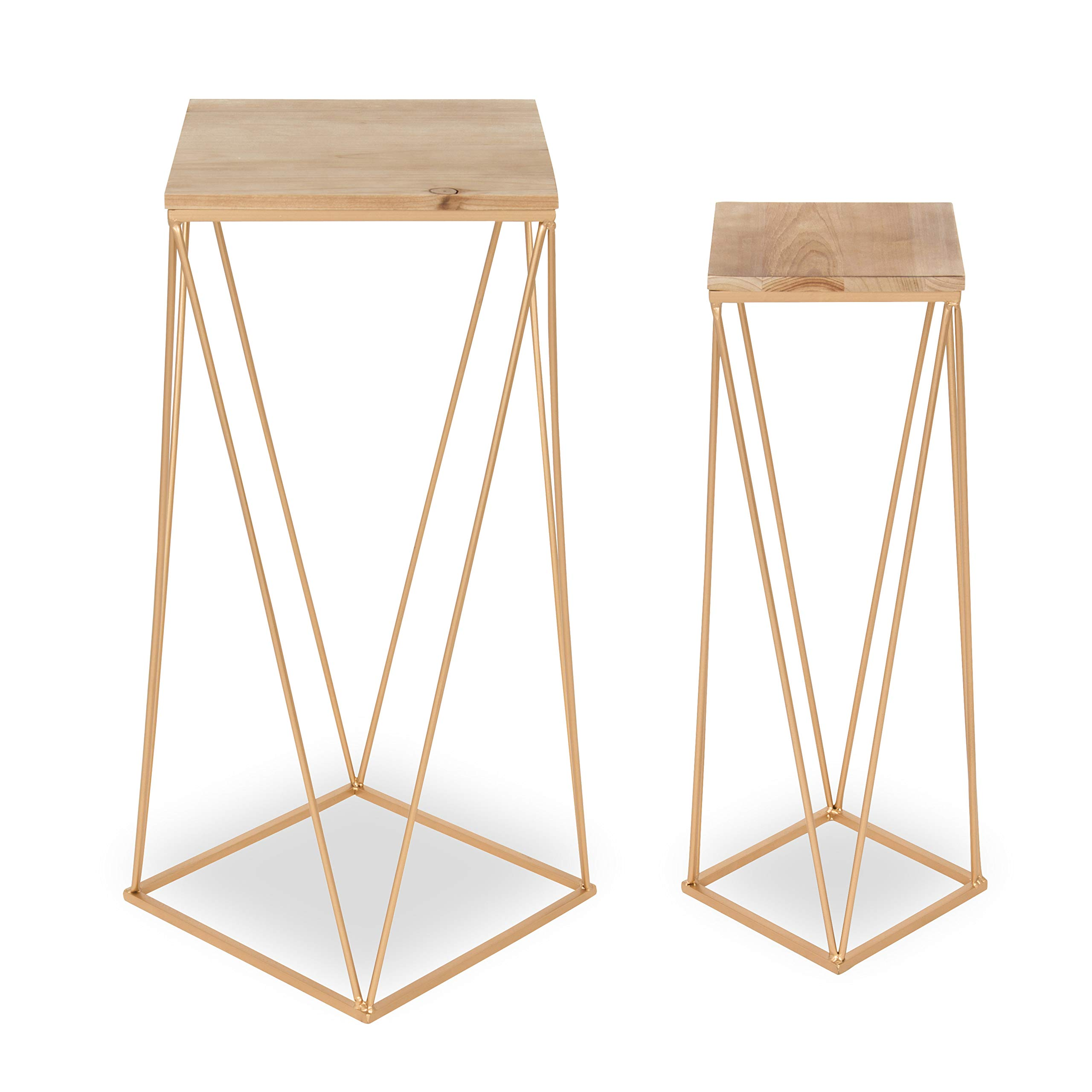 Kate and Laurel Gabriele Metal Accent Nesting Tables with Natural Wood Top and Gold Base, Set of 2