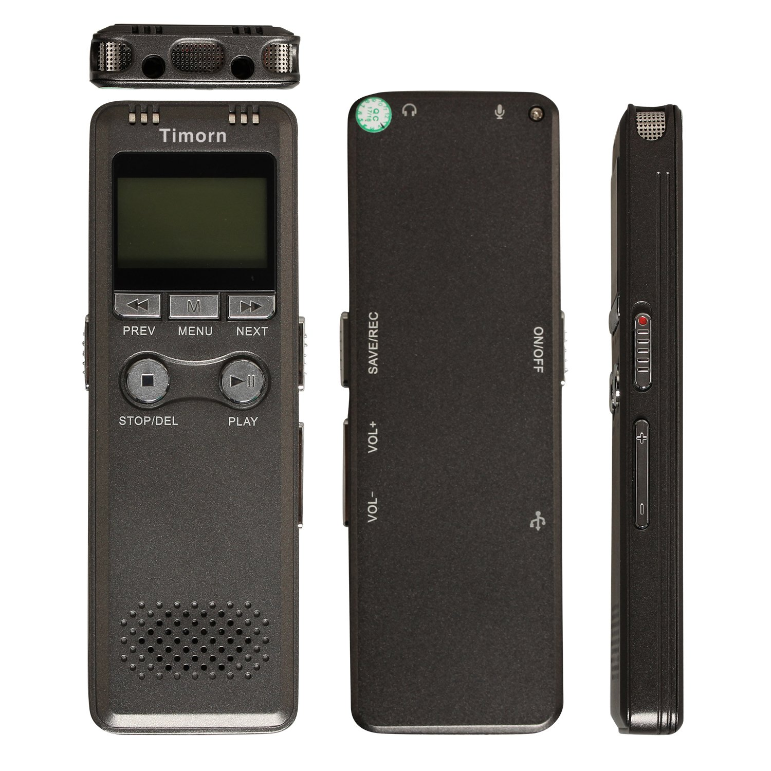 Timorn 8GB Portable Digital Voice Recorder Telephone MP3 Player USB Rechargeable Audio Recorder with LCD Display (Gray)