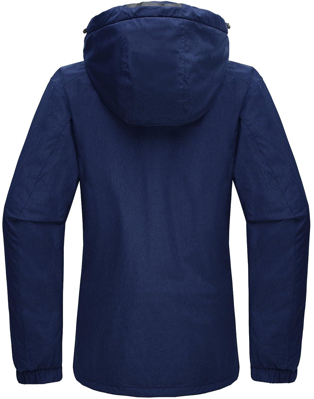 Wantdo Chaqueta para Mujer de Esquí de Montaña Contraviento Polar con Capucha Extraíble
