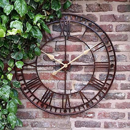 8d2c4487d0bf Large Outdoor Garden Wall Clock Giant Open Face Big Roman Numerals 80CM   Amazon.co.uk  Kitchen   Home