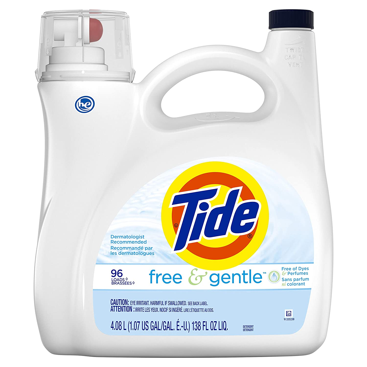 Tide Tide Free & Gentle Liquid Laundry Detergent, 96 Loads 138 fl oz, 138 Fl Oz