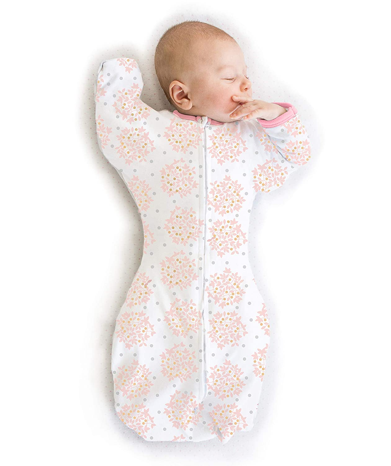 0-3mo SwaddleDesigns Transitional Swaddle Sack with Arms Up Half-Length Sleeves and Mitten Cuffs Parents Picks Award Winner Bella Pink Small 6-14 lbs