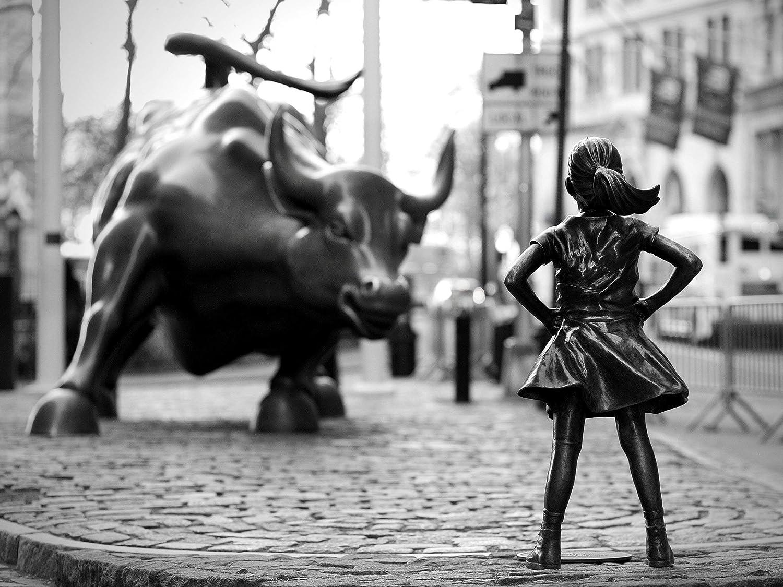 Fearless Girl Statue, Feminist gift, New York Framed, Framed art, Art, Black and White Art Print,Framed Art Print 14×18 inch, Girl Power, Home Decor, Wall street bull, Equality, Women rights