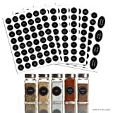 "Hayley Cherie - 320+ Printed Spice Jar and Pantry Label Set - Chalkboard 1.5"" Round Stickers - Includes Extra Write-on Labels"