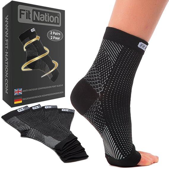 Fit Nation - (2 Paar Kompressionssocken/Fußgelenk Bandage für effektive Kompression beim Laufen & Sport - Kompressionsstrümpf
