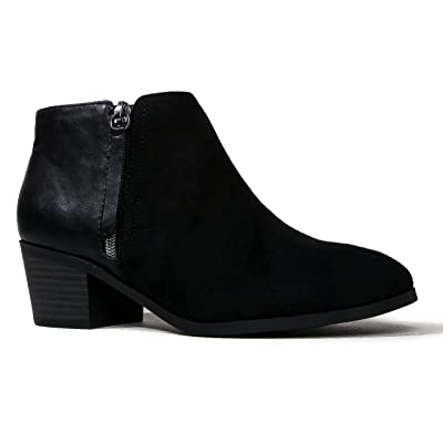 J. Adams Lexy Ankle Boot - Low Stacked Heel Closed Toe Casual Western Bootie   Ankle & Bootie
