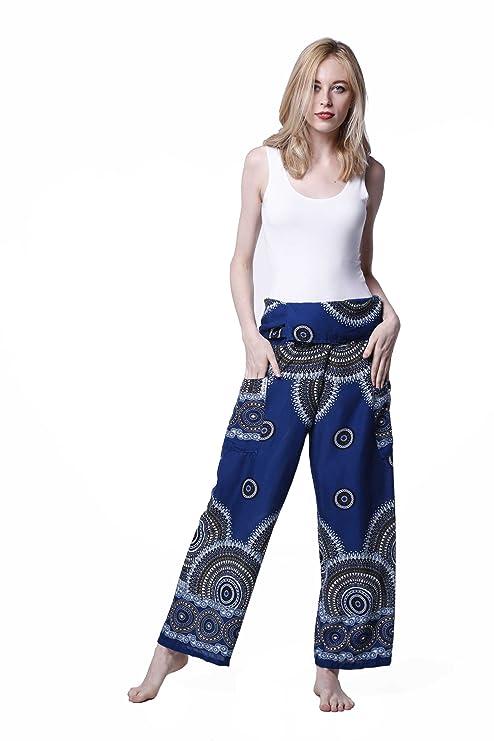 kraft4life Thai Pescador pantalones Boho harén pantalones de ...