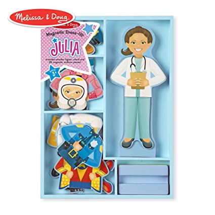 Melissa Doug Julia Magnetic Dress Up Set Pretend Play 8 Outfits Encourages Creativity 24 Magnetic Pieces 11 6 H X 8 65 W X 1 05 L
