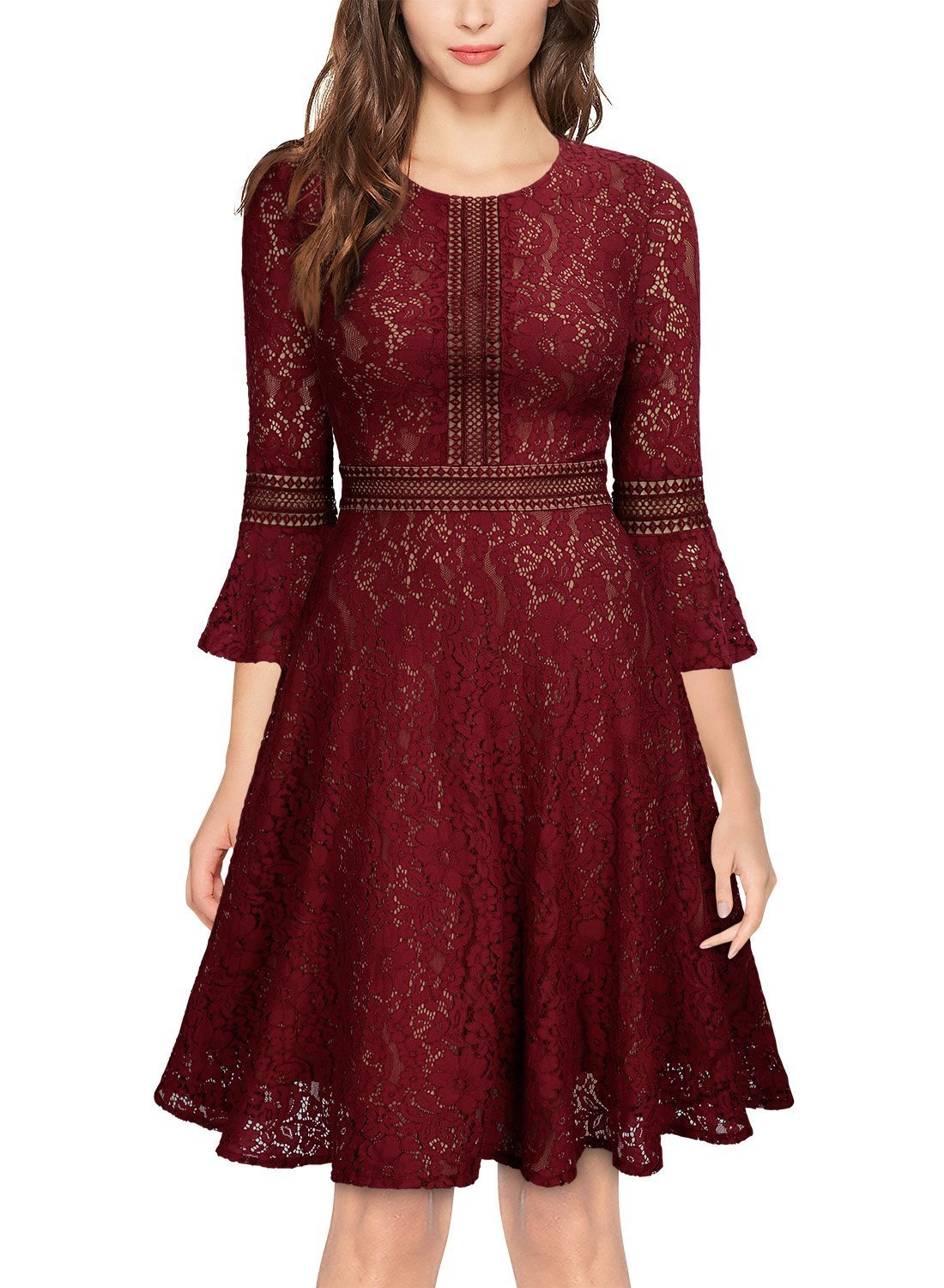 Glamulice Women's Valentines Day Vintage Floral Lace Dress Swing Cocktail A-Line Party Dresses (XX-Large, Wine Red)