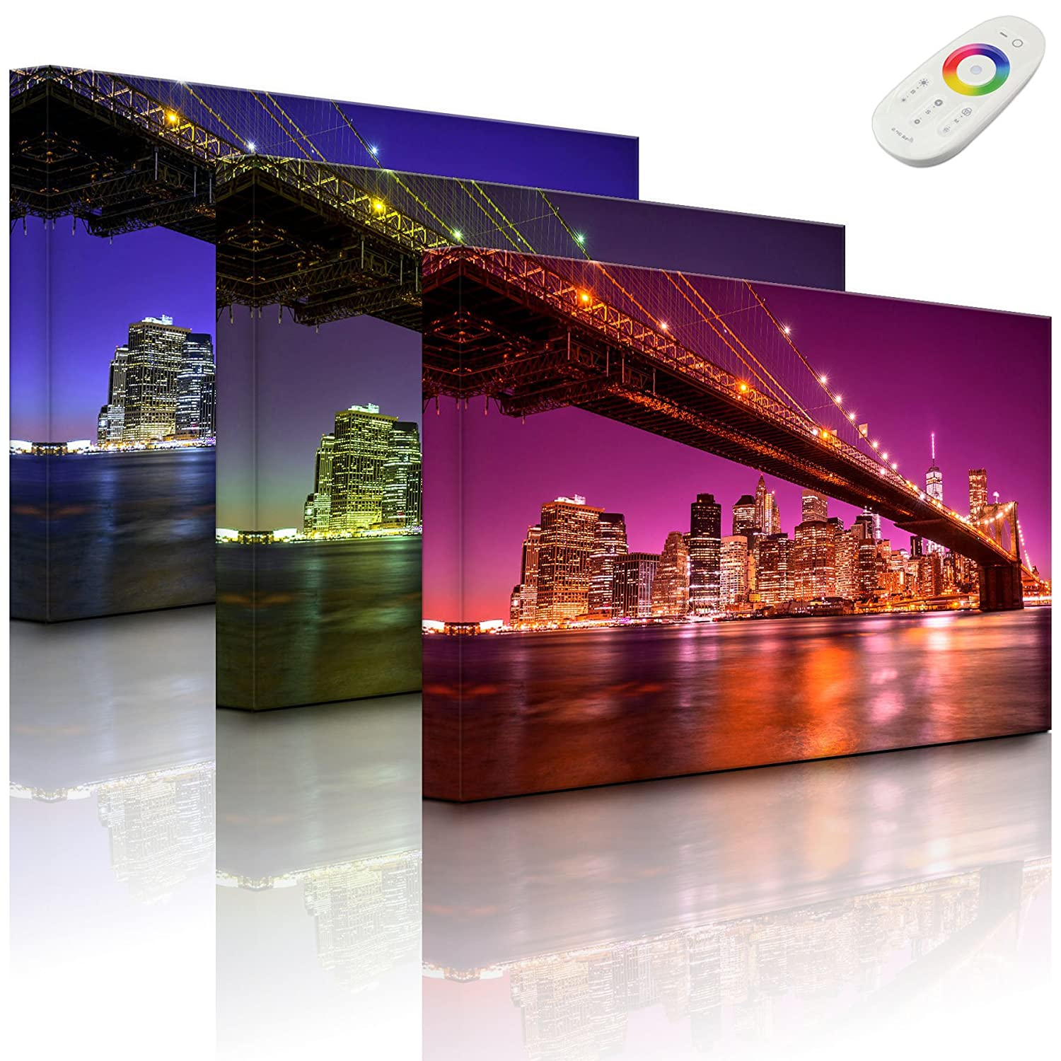 Art canvas with LED lighting - Skyline of Manhattan - 60 x 40 cm - front lighted Rossteutscher GbR
