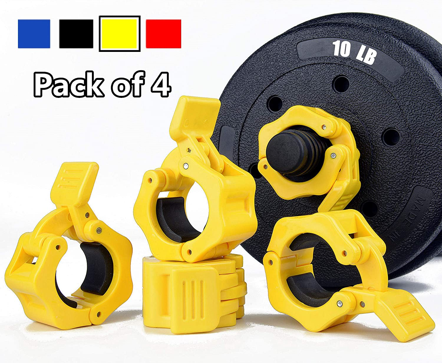TOFEIC 1 Inch Quick Release Dumbbell Clamps 1 Standard Barbell ABS Spinlock Weights Bar Plate Lock Collars Clips Great for Women Strongman Gym Crossfit Wrokout Fitness Training