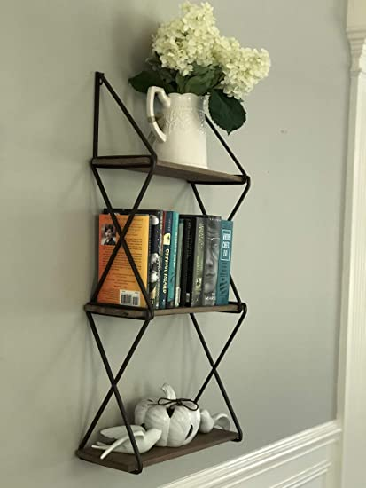 AVIGNON HOME Rustic Floating Wood Shelves 3-Tier Wall Mount Hanging Shelves  Book Shelves Industrial Wood Book Shelves Storage, Display & Decor for ...