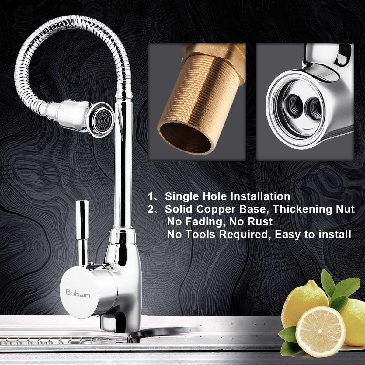 Kitchen Faucet, Baban Single Handle Kitchen Tap 360 Degree Swivel ...